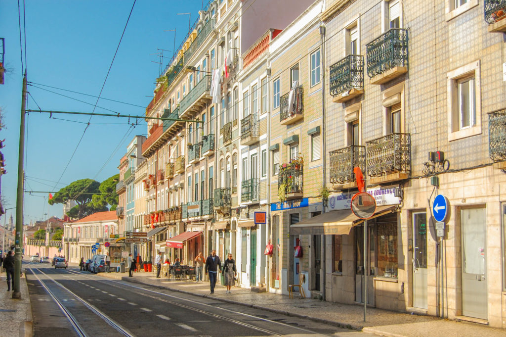 Lisbon Portugal streets and colorful buildings