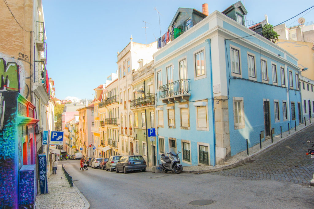 Colorful corner street in Lisbon, Portugal