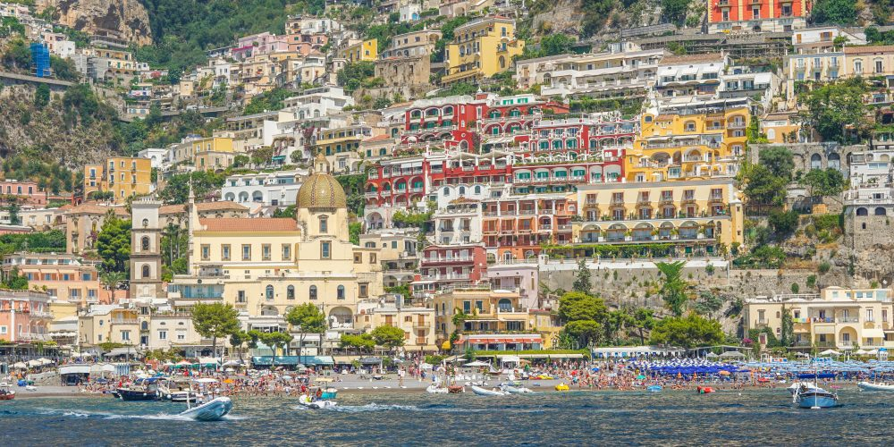 Positano view from the boat, the perfect Amalfi Coast road trip itinerary