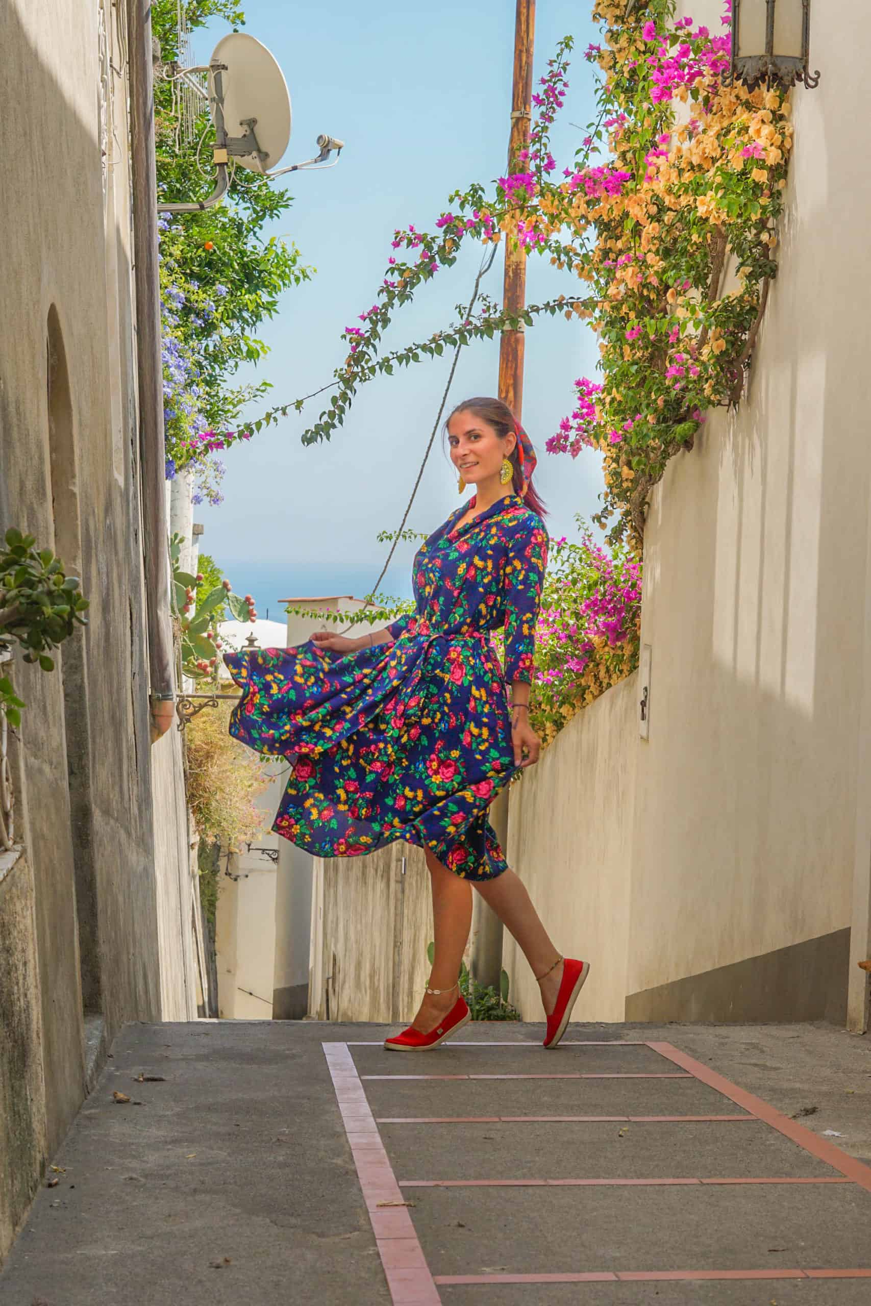 Narrow streets of Positano with flowers