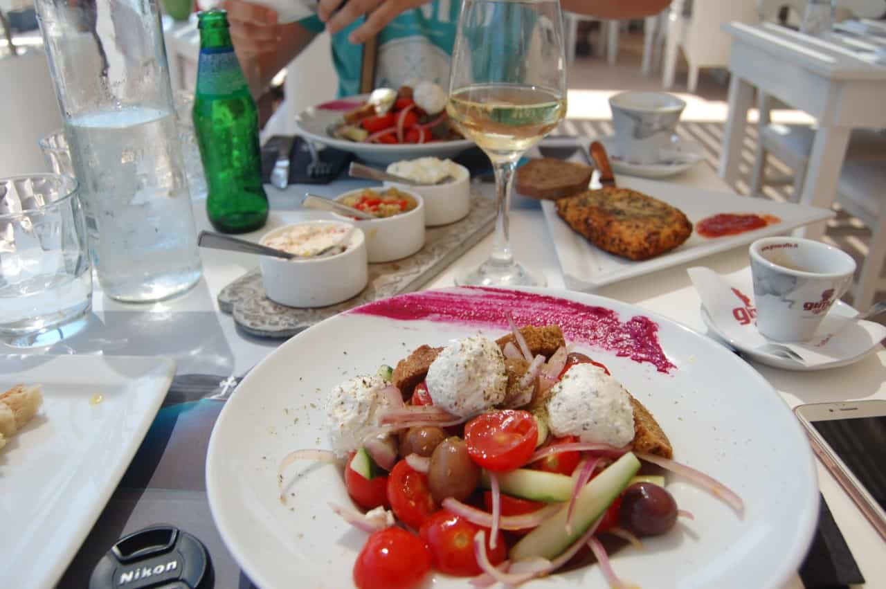 food and wine in Santorini