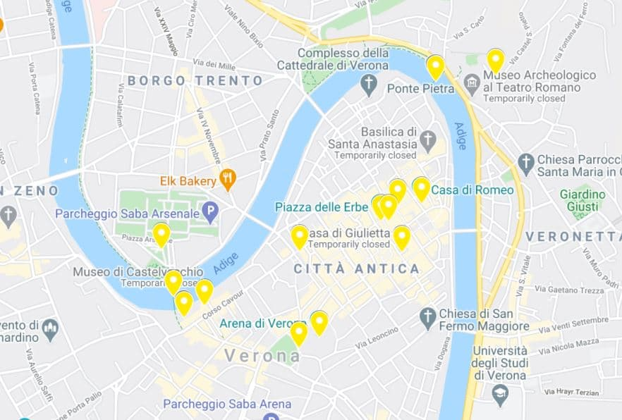 One day in Verona map itinerary