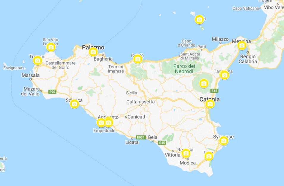 Map one week Sicily itinerary